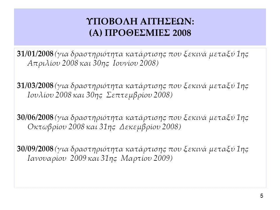 5 ΥΠΟΒΟΛΗ ΑΙΤΗΣΕΩΝ: (Α) ΠΡΟΘΕΣΜΙΕΣ 2008 31/01/2008 (για δραστηριότητα κατάρτισης που ξεκινά μεταξύ 1ης Απριλίου 2008 και 30ης Ιουνίου 2008) 31/03/2008 (για δραστηριότητα κατάρτισης που ξεκινά μεταξύ 1ης Ιουλίου 2008 και 30ης Σεπτεμβρίου 2008) 30/06/2008 (για δραστηριότητα κατάρτισης που ξεκινά μεταξύ 1ης Οκτωβρίου 2008 και 31ης Δεκεμβρίου 2008) 30/09/2008 (για δραστηριότητα κατάρτισης που ξεκινά μεταξύ 1ης Ιανουαρίου 2009 και 31ης Μαρτίου 2009)