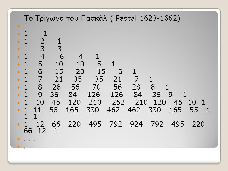 Ιδιότητες: Στο τρίγωνο του Πασκάλ κάθε αριθμός από την τρίτη γραμμή και κάτω, εκτός από τις μονάδες, είναι το άθροισμα των αριθμών της προηγούμενης γραμμής, που είναι πιο κοντά του Οι αριθμοί της ν-οστής γραμμής είναι συντελεστές του αναπτύγματος (α+β )ν.
