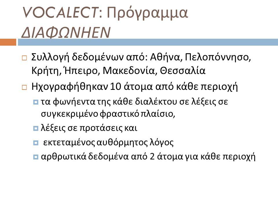 VOCALECT: Πρόγραμμα ΔΙΑΦΩΝΗΕΝ  Συλλογή δεδομένων από : Αθήνα, Πελοπόννησο, Κρήτη, Ήπειρο, Μακεδονία, Θεσσαλία  Ηχογραφήθηκαν 10 άτομα από κάθε περιο