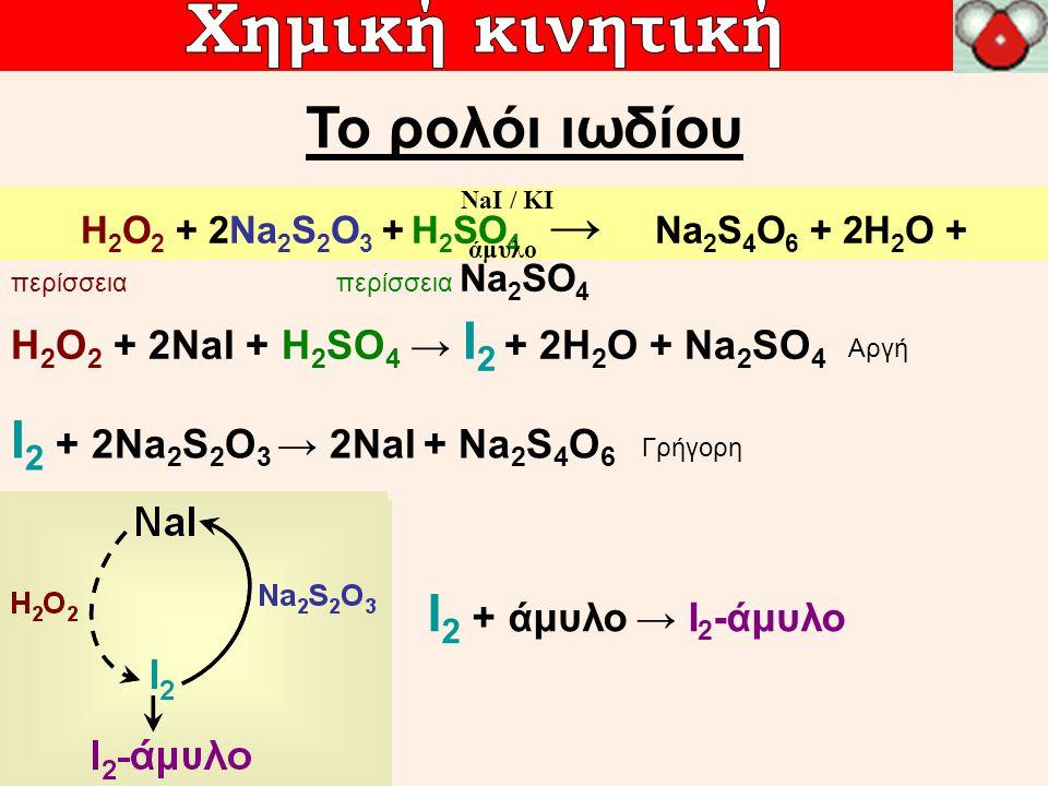 H 2 O 2 + 2NaI + H 2 SO 4 → I 2 + 2H 2 O + Na 2 SO 4 I 2 + 2Na 2 S 2 O 3 → 2NaI + Na 2 S 4 O 6 H 2 O 2 + 2Na 2 S 2 O 3 + H 2 SO 4 → Na 2 S 4 O 6 + 2H