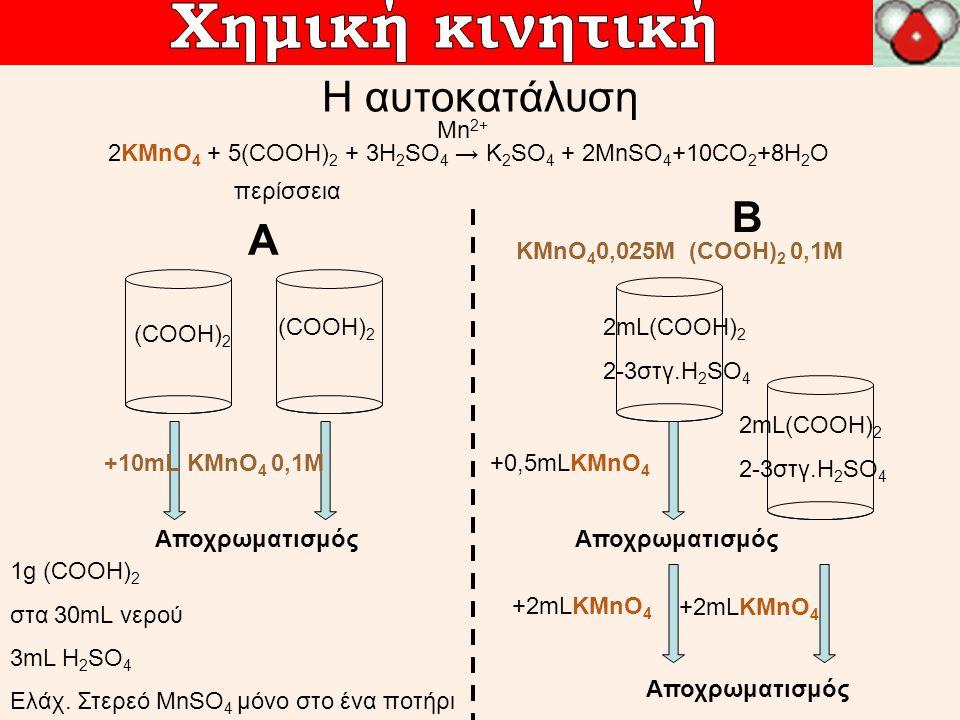 Η αυτοκατάλυση 2KMnO 4 + 5(COOH) 2 + 3H 2 SO 4 → K 2 SO 4 + 2MnSO 4 +10CO 2 +8H 2 O περίσσεια Μn 2+ A 1g (COOH) 2 στα 30mL νερού 3mL H 2 SO 4 Ελάχ. Στ