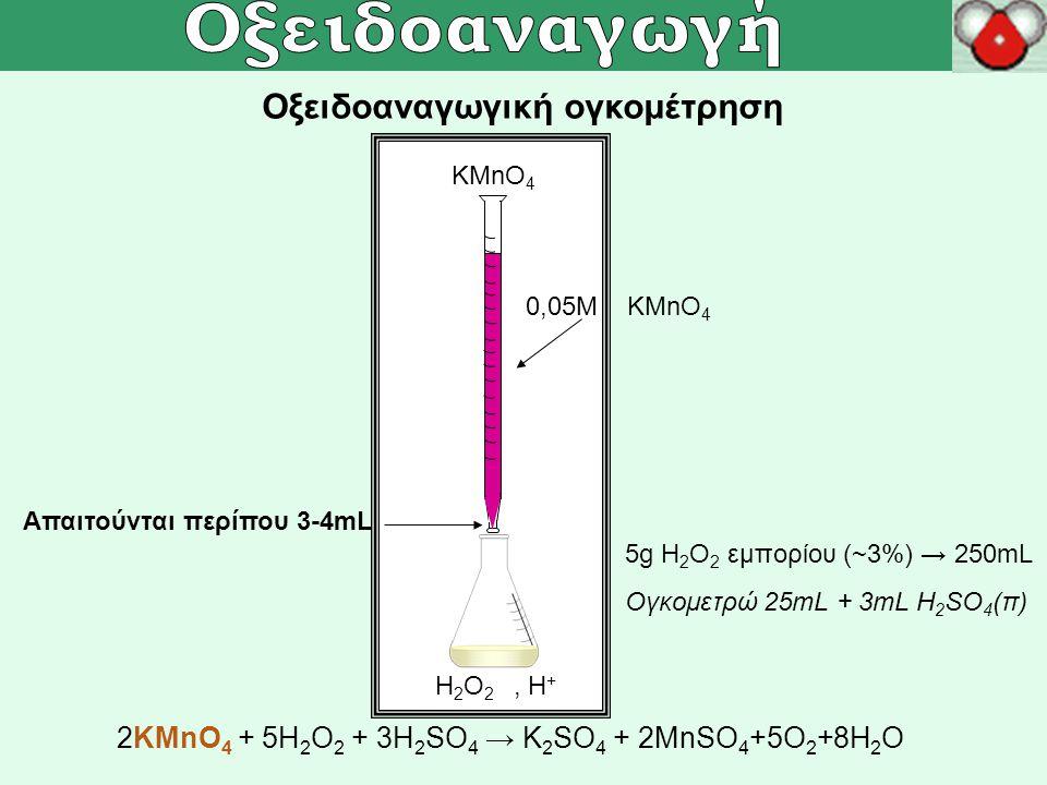 Οξειδοαναγωγική ογκομέτρηση ΚMnO 4 H 2 O 2, H + 2KMnO 4 + 5H 2 O 2 + 3H 2 SO 4 → K 2 SO 4 + 2MnSO 4 +5O 2 +8H 2 O 0,05M KMnO 4 5g Η 2 Ο 2 εμπορίου (~3