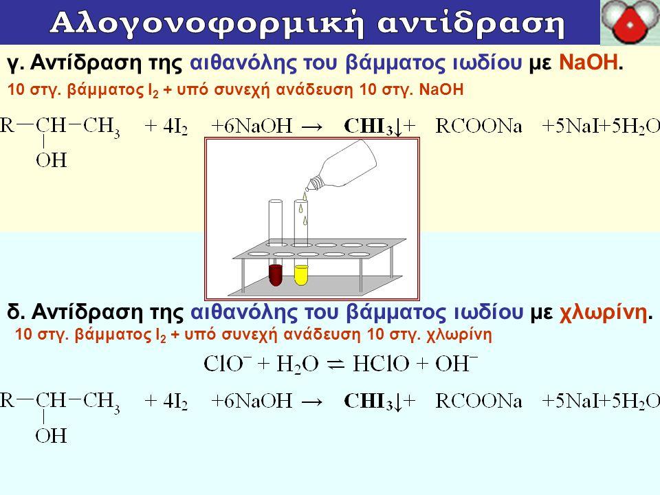 γ. Αντίδραση της αιθανόλης του βάμματος ιωδίου με NaOH. 10 στγ. βάμματος Ι 2 + υπό συνεχή ανάδευση 10 στγ. ΝaΟΗ δ. Αντίδραση της αιθανόλης του βάμματο