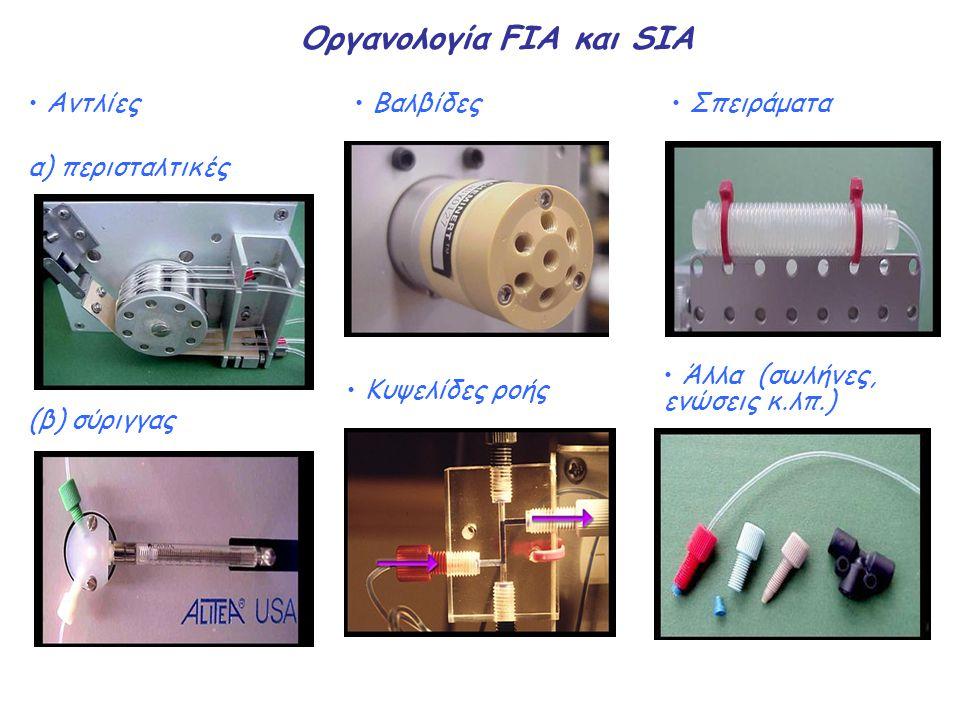 Οργανολογία FIA και SIA Aντλίες α) περισταλτικές (β) σύριγγας Βαλβίδες Σπειράματα Άλλα (σωλήνες, ενώσεις κ.λπ.) Κυψελίδες ροής