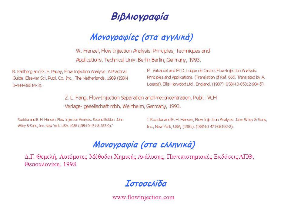 Βιβλιογραφία Μονογραφίες (στα αγγλικά) Ιστοσελίδα www.flowinjection.com Μονογραφία (στα ελληνικά) Δ.Γ. Θεμελή, Αυτόματες Μέθοδοι Χημικής Ανάλυσης, Παν