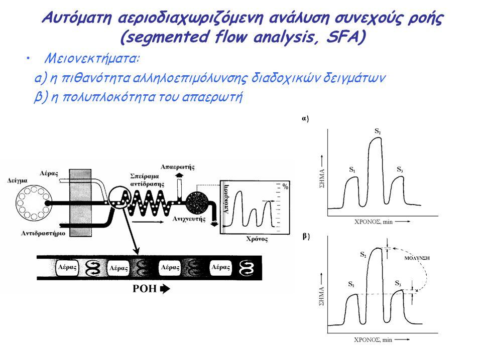 Αυτόματη αεριοδιαχωριζόμενη ανάλυση συνεχούς ροής (segmented flow analysis, SFA) Μειονεκτήματα: a) η πιθανότητα αλληλοεπιμόλυνσης διαδοχικών δειγμάτων