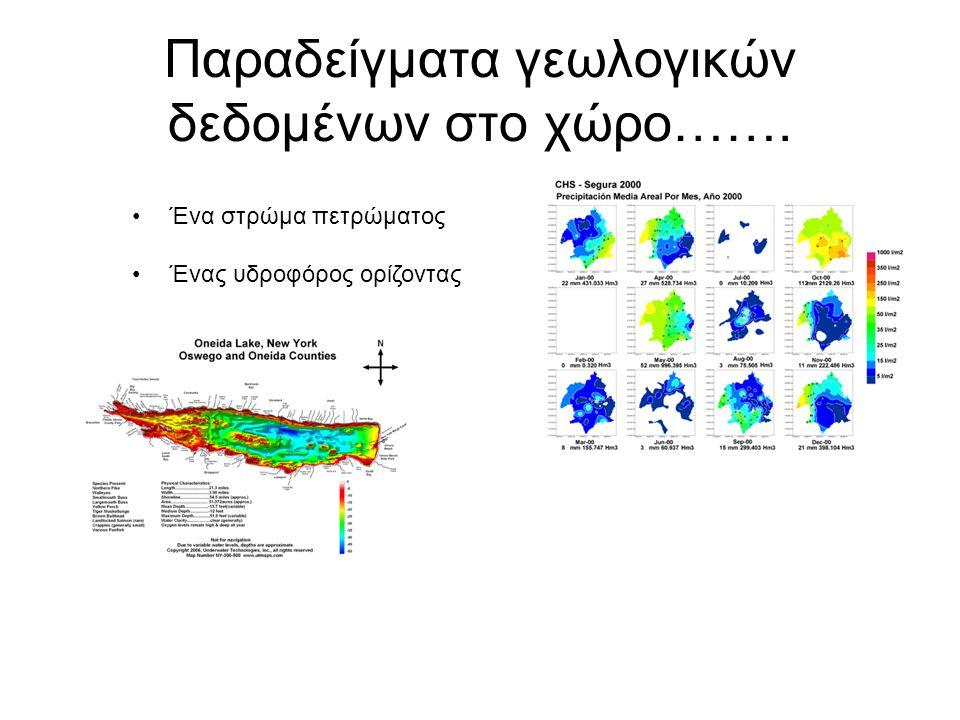 Παραδείγματα γεωλογικών δεδομένων στο χώρο……. Ένα στρώμα πετρώματος Ένας υδροφόρος ορίζοντας