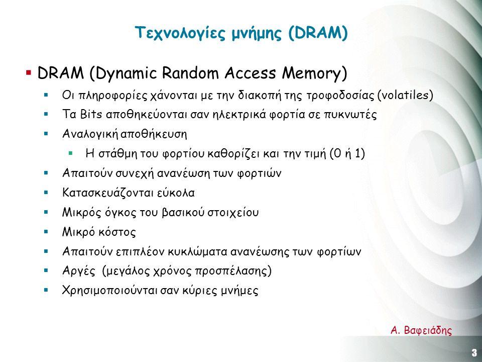 3 Α. Βαφειάδης Τεχνολογίες μνήμης (DRAM)  DRAM (Dynamic Random Access Memory)  Οι πληροφορίες χάνονται με την διακοπή της τροφοδοσίας (volatiles) 