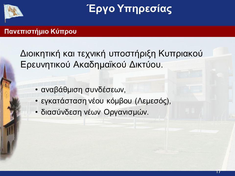 17 Έργο Υπηρεσίας Διοικητική και τεχνική υποστήριξη Κυπριακού Ερευνητικού Ακαδημαϊκού Δικτύου.