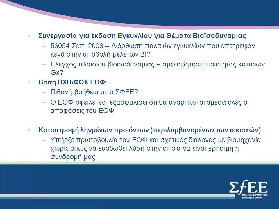 Συνεργασία για έκδοση Εγκυκλίου για Θέματα Βιοϊσοδυναμίας –56054 Σεπ.