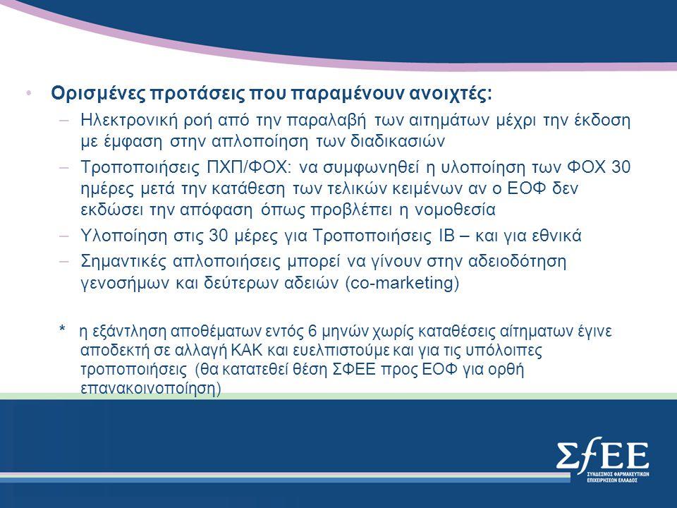 Ορισμένες προτάσεις που παραμένουν ανοιχτές: –Ηλεκτρονική ροή από την παραλαβή των αιτημάτων μέχρι την έκδοση με έμφαση στην απλοποίηση των διαδικασιών –Τροποποιήσεις ΠΧΠ/ΦΟΧ: να συμφωνηθεί η υλοποίηση των ΦΟΧ 30 ημέρες μετά την κατάθεση των τελικών κειμένων αν ο ΕΟΦ δεν εκδώσει την απόφαση όπως προβλέπει η νομοθεσία –Υλοποίηση στις 30 μέρες για Τροποποιήσεις ΙΒ – και για εθνικά –Σημαντικές απλοποιήσεις μπορεί να γίνουν στην αδειοδότηση γενοσήμων και δεύτερων αδειών (co-marketing) * η εξάντληση αποθέματων εντός 6 μηνών χωρίς καταθέσεις αίτηματων έγινε αποδεκτή σε αλλαγή ΚΑΚ και ευελπιστούμε και για τις υπόλοιπες τροποποιήσεις (θα κατατεθεί θέση ΣΦΕΕ προς ΕΟΦ για ορθή επανακοινοποίηση)