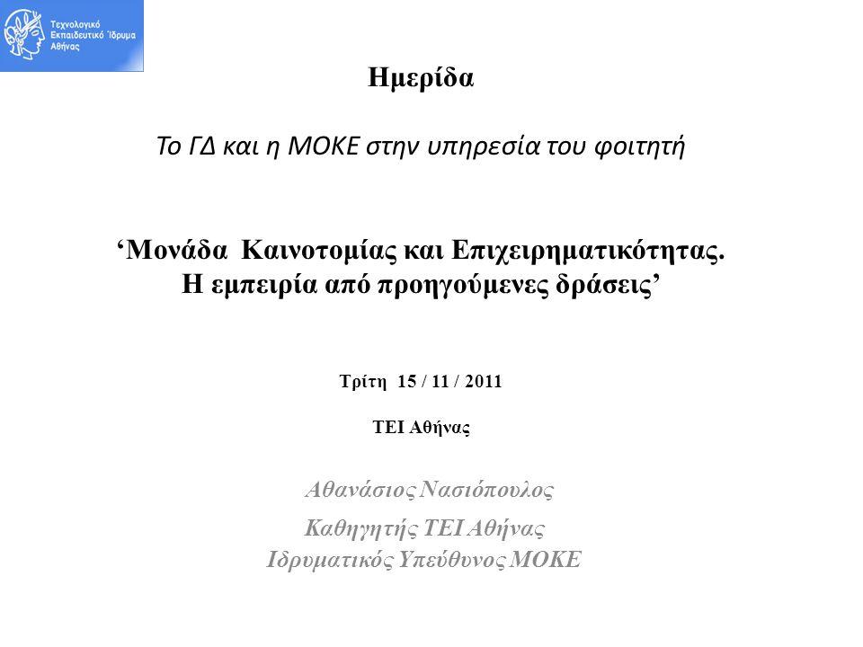 Ημερίδα Το ΓΔ και η ΜΟΚΕ στην υπηρεσία του φοιτητή 'Μονάδα Καινοτομίας και Επιχειρηματικότητας.