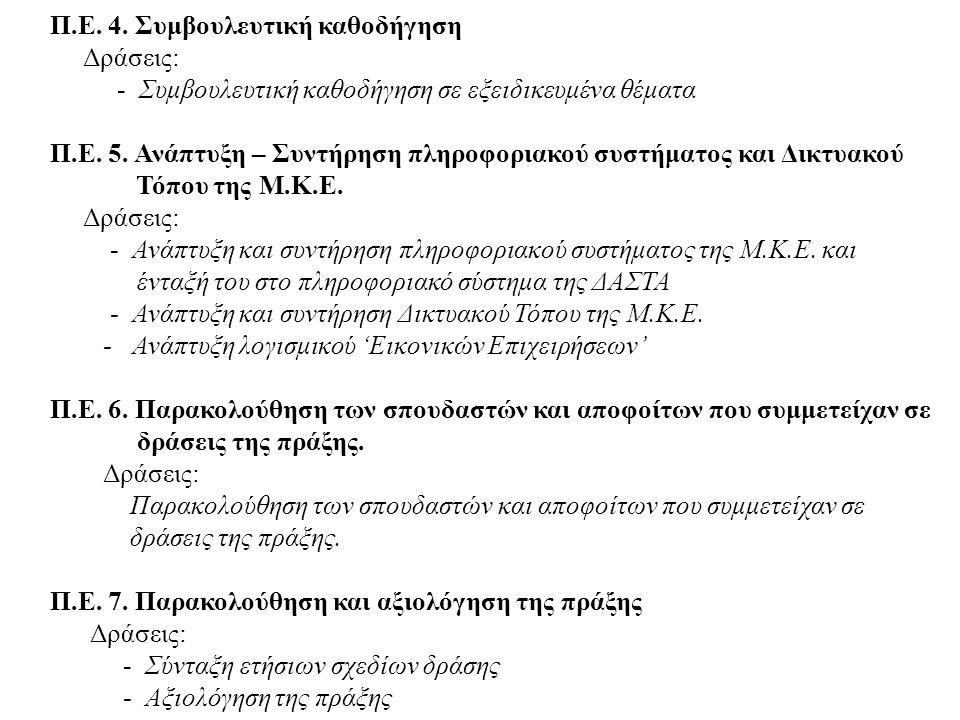 Π.Ε. 4. Συμβουλευτική καθοδήγηση Δράσεις: - Συμβουλευτική καθοδήγηση σε εξειδικευμένα θέματα Π.Ε.