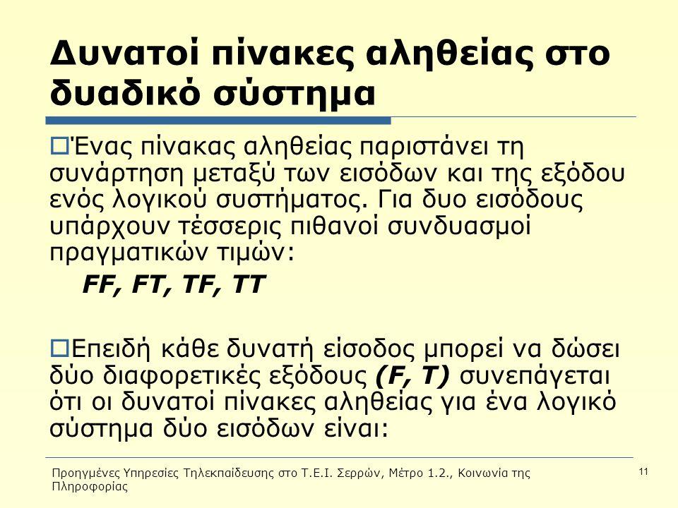 Προηγμένες Υπηρεσίες Τηλεκπαίδευσης στο Τ.Ε.Ι. Σερρών, Μέτρο 1.2., Κοινωνία της Πληροφορίας 11 Δυνατοί πίνακες αληθείας στο δυαδικό σύστημα  Ένας πίν
