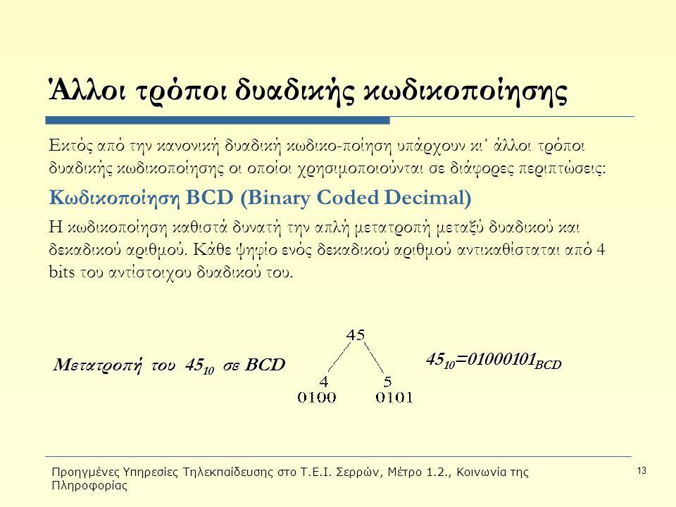 Προηγμένες Υπηρεσίες Τηλεκπαίδευσης στο Τ.Ε.Ι. Σερρών, Μέτρο 1.2., Κοινωνία της Πληροφορίας 13 Άλλοι τρόποι δυαδικής κωδικοποίησης Εκτός από την κανον