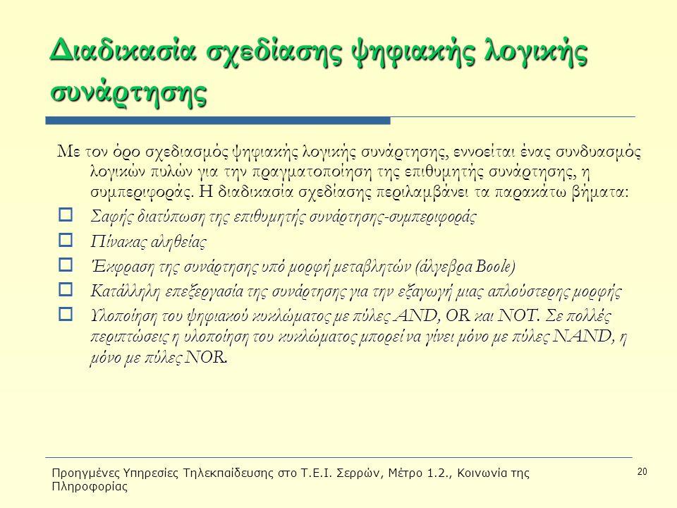 Προηγμένες Υπηρεσίες Τηλεκπαίδευσης στο Τ.Ε.Ι. Σερρών, Μέτρο 1.2., Κοινωνία της Πληροφορίας 20 Διαδικασία σχεδίασης ψηφιακής λογικής συνάρτησης Με τον