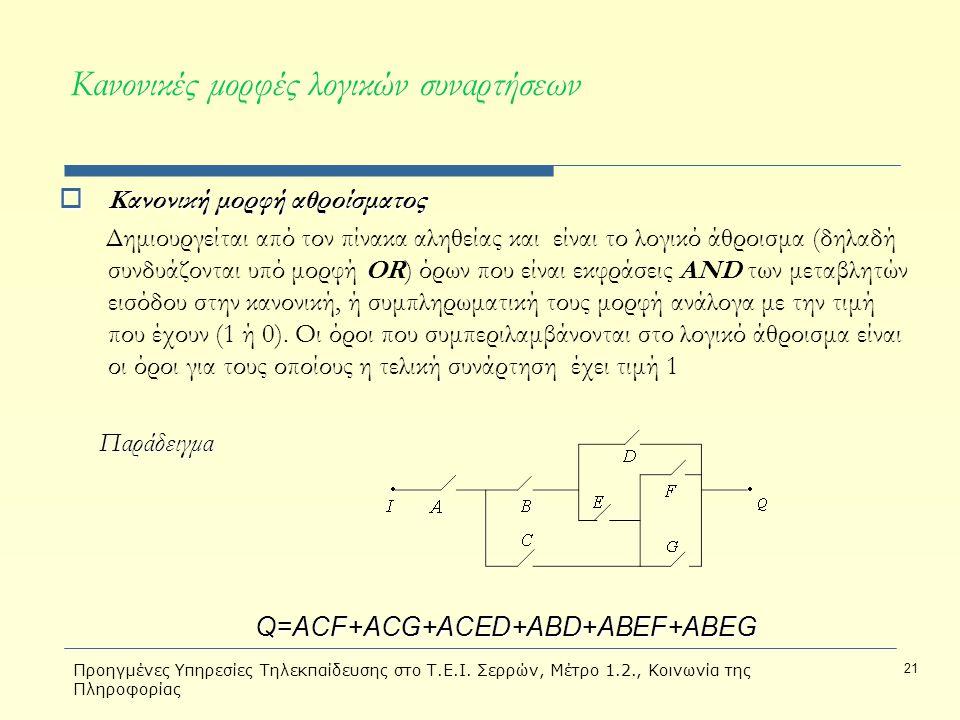 Προηγμένες Υπηρεσίες Τηλεκπαίδευσης στο Τ.Ε.Ι. Σερρών, Μέτρο 1.2., Κοινωνία της Πληροφορίας 21  Κανονική μορφή αθροίσματος Δημιουργείται από τον πίνα