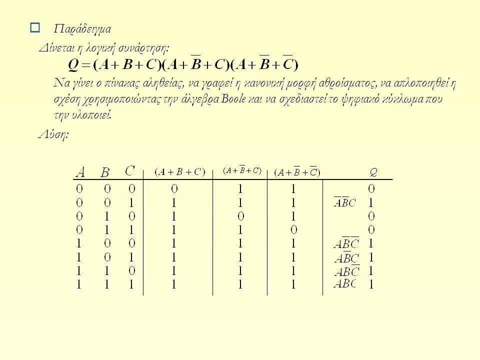  Παράδειγμα Δίνεται η λογική συνάρτηση: Δίνεται η λογική συνάρτηση: Να γίνει ο πίνακας αληθείας, να γραφεί η κανονική μορφή αθροίσματος, να απλοποιηθ