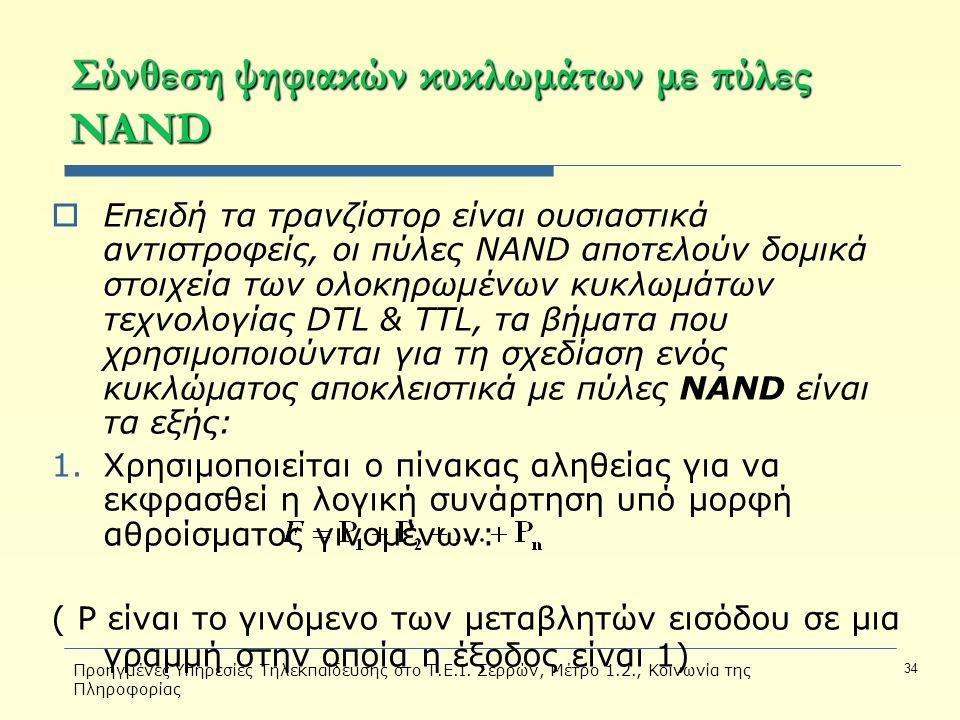 Προηγμένες Υπηρεσίες Τηλεκπαίδευσης στο Τ.Ε.Ι. Σερρών, Μέτρο 1.2., Κοινωνία της Πληροφορίας 34 Σύνθεση ψηφιακών κυκλωμάτων με πύλες NAND  Επειδή τα τ