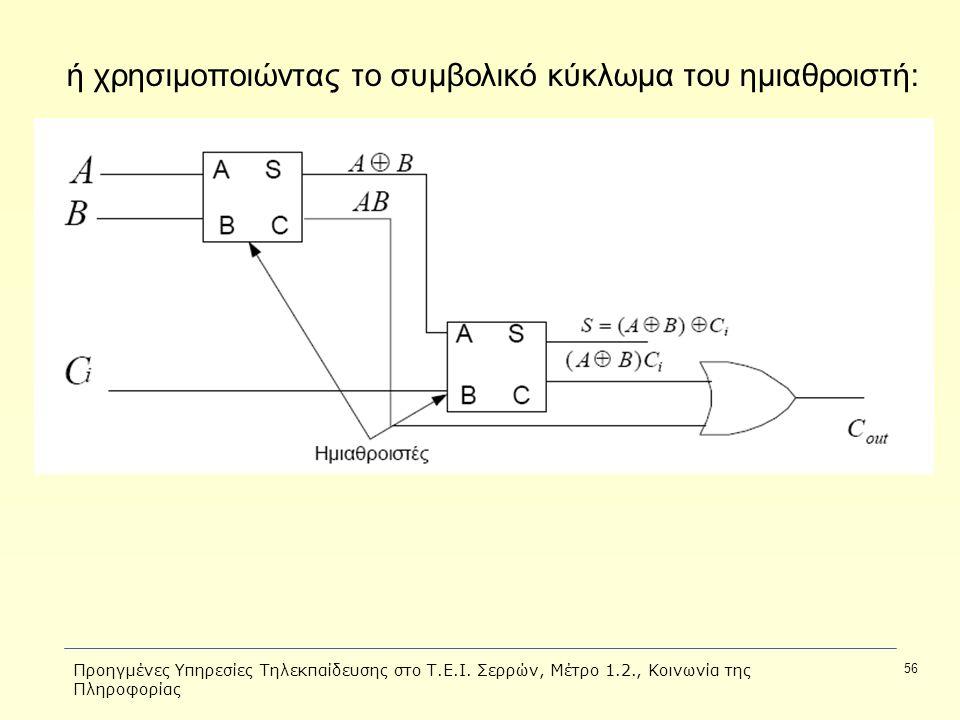 Προηγμένες Υπηρεσίες Τηλεκπαίδευσης στο Τ.Ε.Ι. Σερρών, Μέτρο 1.2., Κοινωνία της Πληροφορίας 56 ή χρησιμοποιώντας το συμβολικό κύκλωμα του ημιαθροιστή: