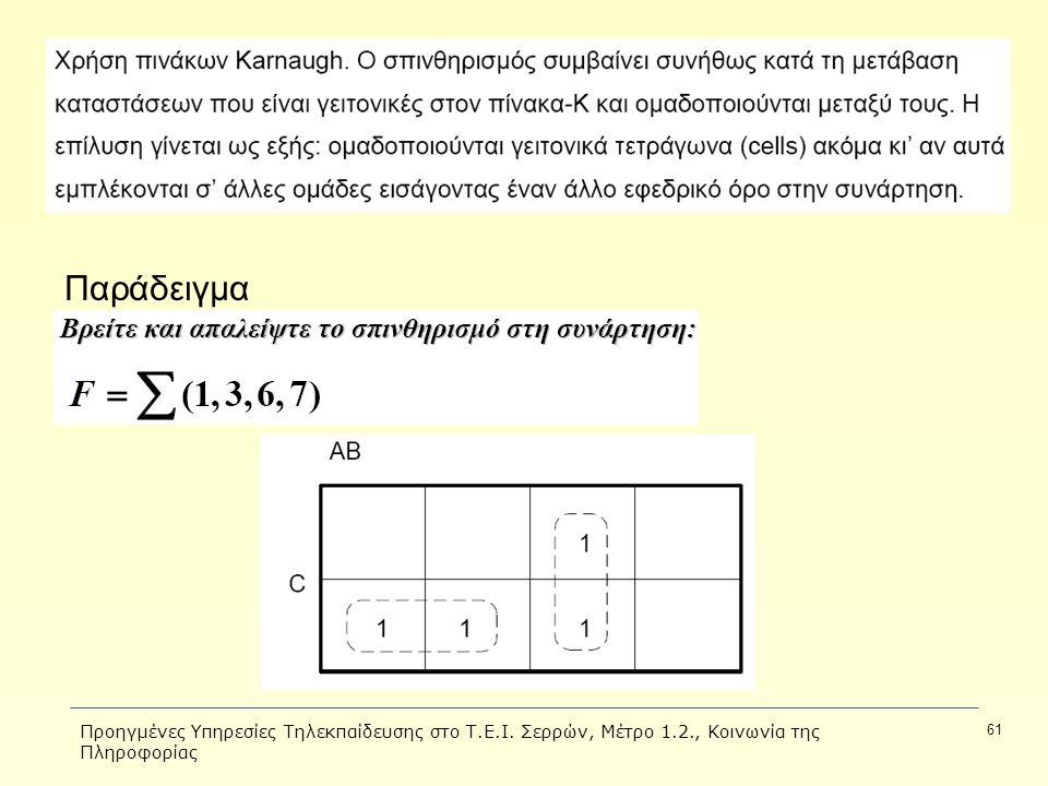 Προηγμένες Υπηρεσίες Τηλεκπαίδευσης στο Τ.Ε.Ι. Σερρών, Μέτρο 1.2., Κοινωνία της Πληροφορίας 61 Παράδειγμα