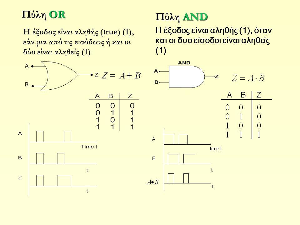 Πύλη OR Πύλη AND H έξοδος είναι αληθής (1), όταν και οι δυο είσοδοι είναι αληθείς (1) H έξοδος είναι αληθής (true) (1), εάν μια από τις εισόδους ή και