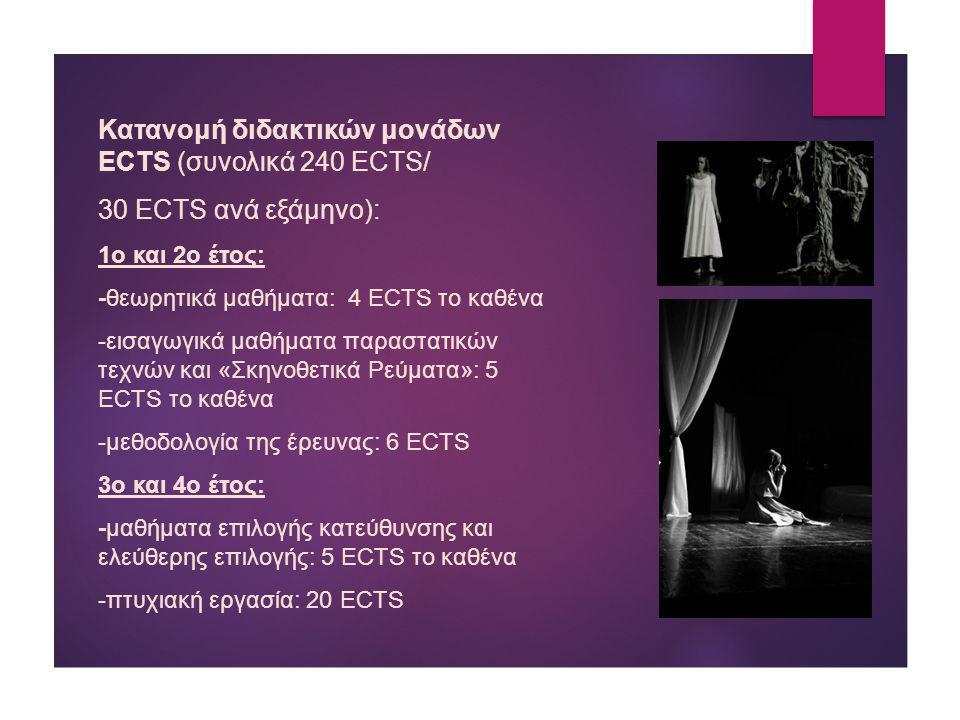 Κατανομή διδακτικών μονάδων ECTS (συνολικά 240 ECTS/ 30 ECTS ανά εξάμηνο): 1ο και 2ο έτος: -θεωρητικά μαθήματα: 4 ECTS το καθένα -εισαγωγικά μαθήματα