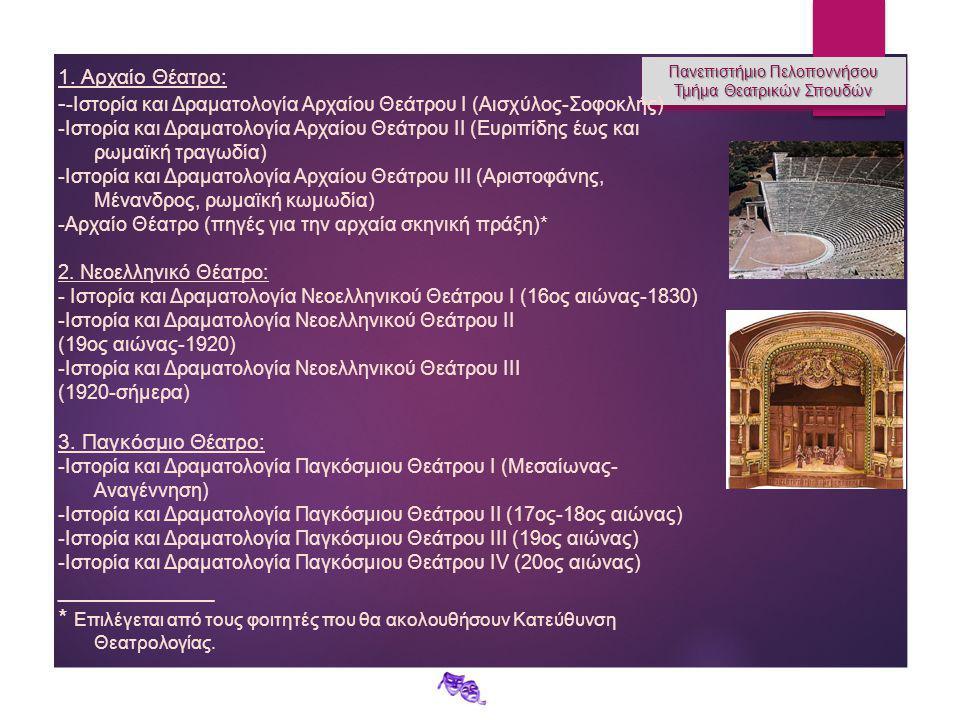 Πανεπιστήμιο Πελοποννήσου Τμήμα Θεατρικών Σπουδών Πανεπιστήμιο Πελοποννήσου Τμήμα Θεατρικών Σπουδών 1. Αρχαίο Θέατρο: - -Ιστορία και Δραματολογία Αρχα