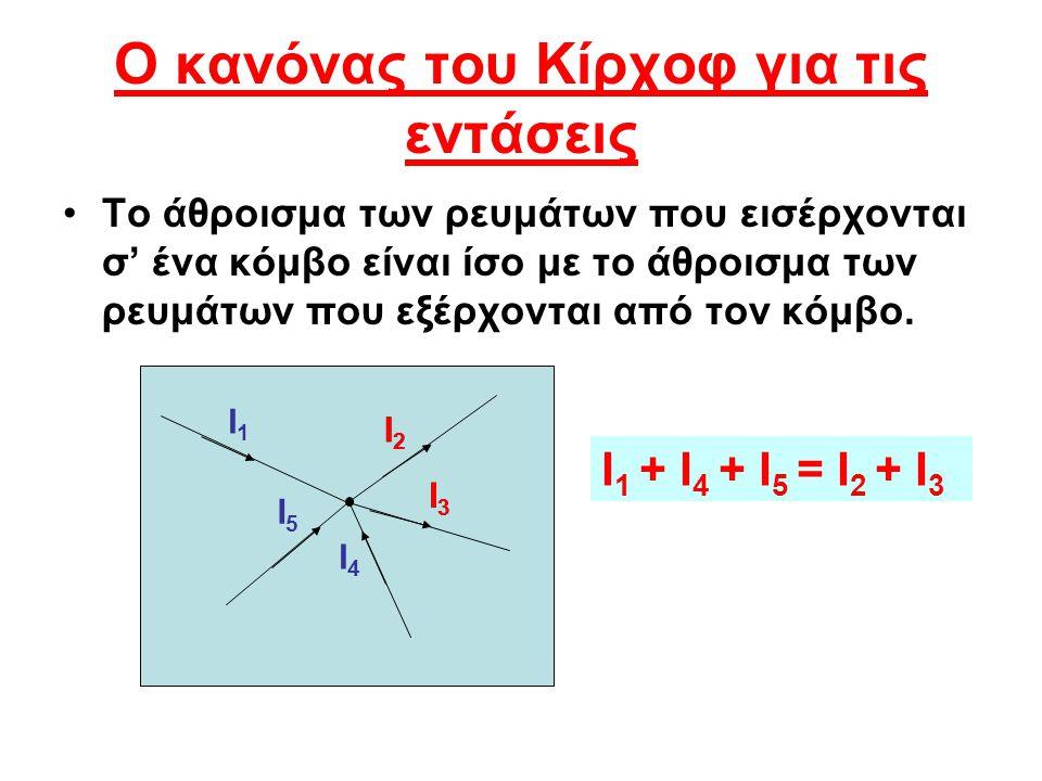 Ο κανόνας του Κίρχοφ για τις εντάσεις Το άθροισμα των ρευμάτων που εισέρχονται σ' ένα κόμβο είναι ίσο με το άθροισμα των ρευμάτων που εξέρχονται από τ