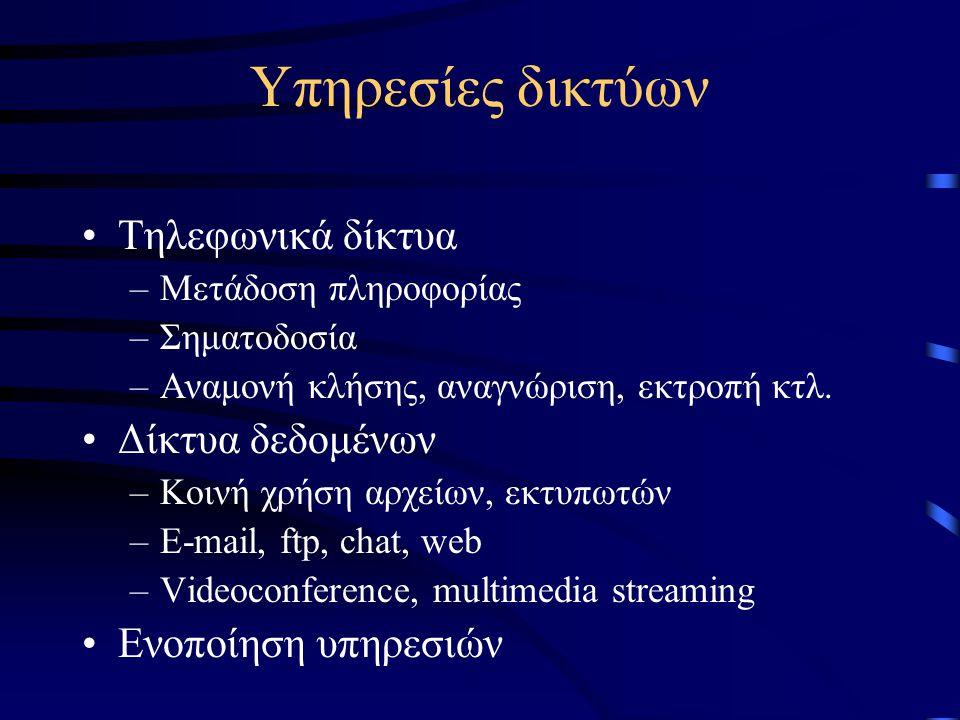 Υπηρεσίες δικτύων Τηλεφωνικά δίκτυα –Μετάδοση πληροφορίας –Σηματοδοσία –Αναμονή κλήσης, αναγνώριση, εκτροπή κτλ.