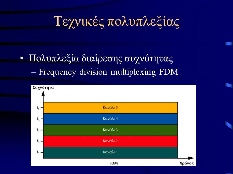 Τεχνικές πολυπλεξίας Πολυπλεξία διαίρεσης συχνότητας –Frequency division multiplexing FDM