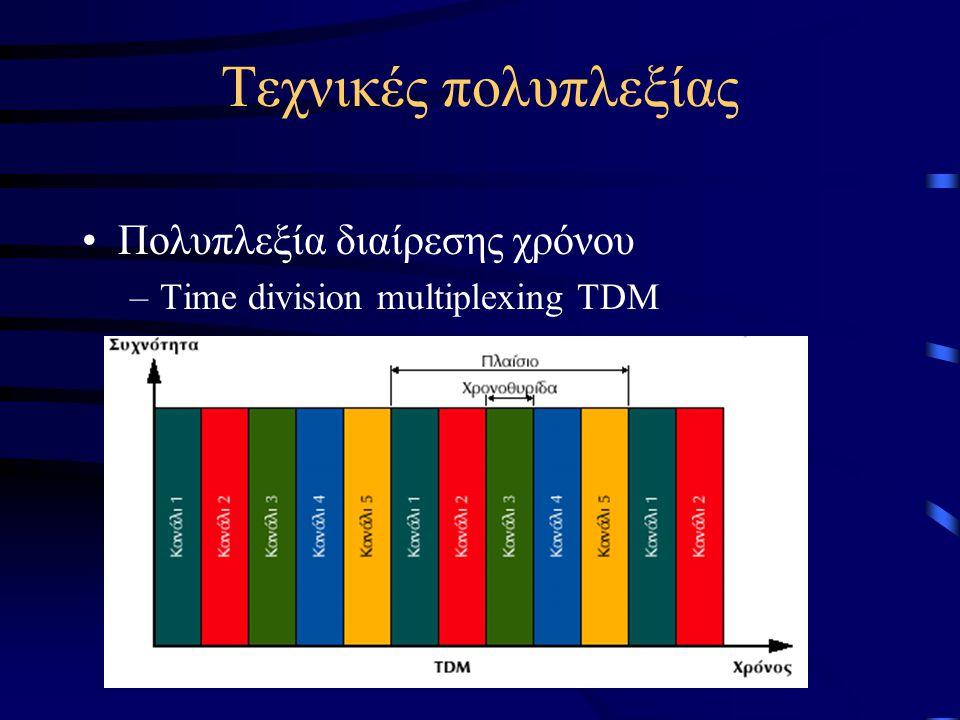 Τεχνικές πολυπλεξίας Πολυπλεξία διαίρεσης χρόνου –Time division multiplexing TDM