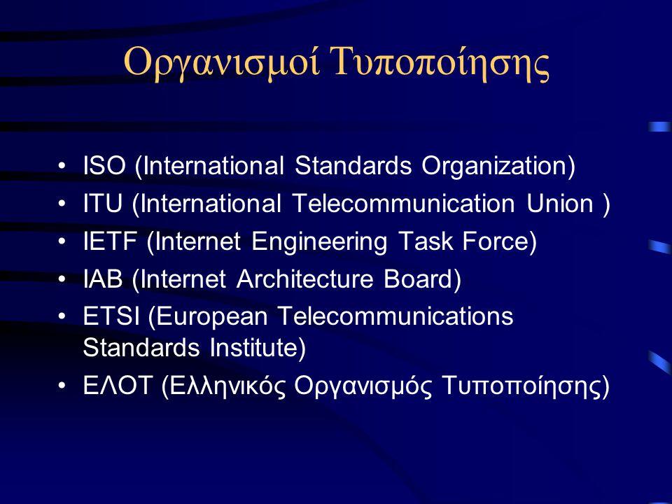 Οργανισμοί Τυποποίησης ISO (International Standards Organization) ITU (International Telecommunication Union ) IETF (Internet Engineering Task Force) IAB (Internet Architecture Board) ETSI (European Telecommunications Standards Institute) ΕΛΟΤ (Ελληνικός Οργανισμός Τυποποίησης)