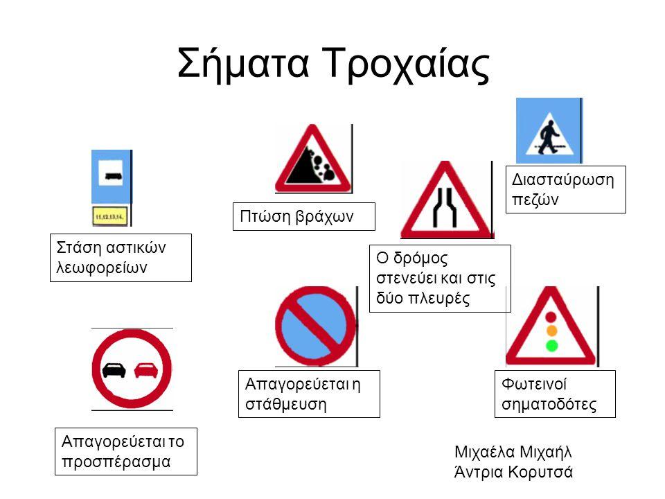 Σήματα Τροχαίας Απαγορεύεται το προσπέρασμα Απαγορεύεται η στάθμευση Φωτεινοί σηματοδότες Στάση αστικών λεωφορείων Πτώση βράχων Ο δρόμος στενεύει και