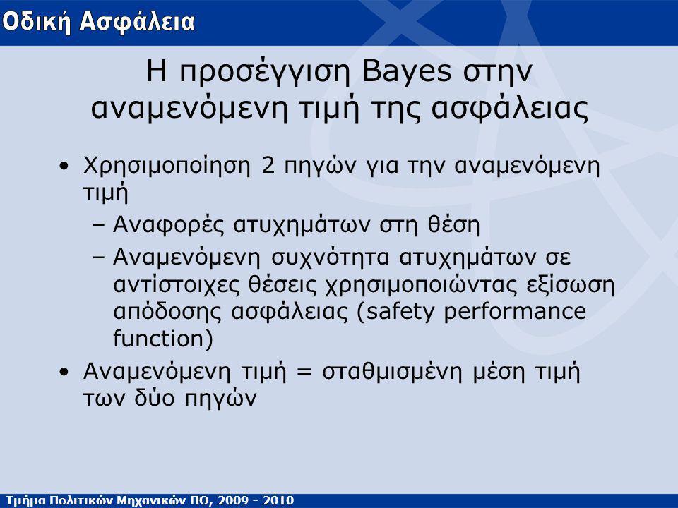 Τμήμα Πολιτικών Μηχανικών ΠΘ, 2009 - 2010 Η προσέγγιση Bayes στην αναμενόμενη τιμή της ασφάλειας Χρησιμοποίηση 2 πηγών για την αναμενόμενη τιμή –Αναφορές ατυχημάτων στη θέση –Αναμενόμενη συχνότητα ατυχημάτων σε αντίστοιχες θέσεις χρησιμοποιώντας εξίσωση απόδοσης ασφάλειας (safety performance function) Αναμενόμενη τιμή = σταθμισμένη μέση τιμή των δύο πηγών