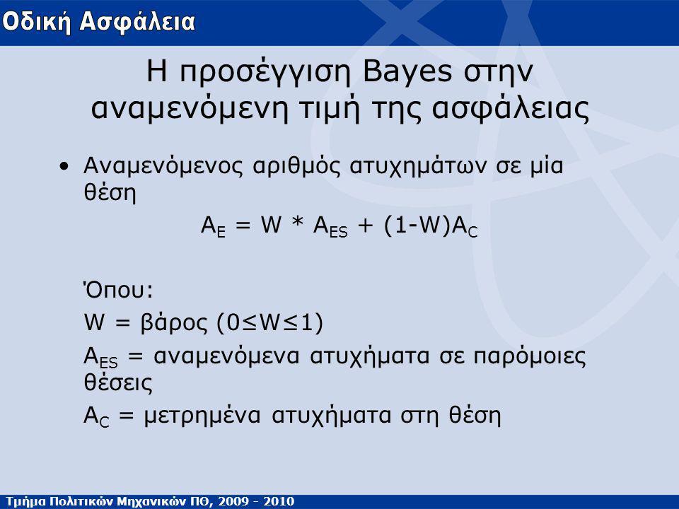 Τμήμα Πολιτικών Μηχανικών ΠΘ, 2009 - 2010 Η προσέγγιση Bayes στην αναμενόμενη τιμή της ασφάλειας Αναμενόμενος αριθμός ατυχημάτων σε μία θέση Α E = W * A ES + (1-W)A C Όπου: W = βάρος (0≤W≤1) A ES = αναμενόμενα ατυχήματα σε παρόμοιες θέσεις Α C = μετρημένα ατυχήματα στη θέση
