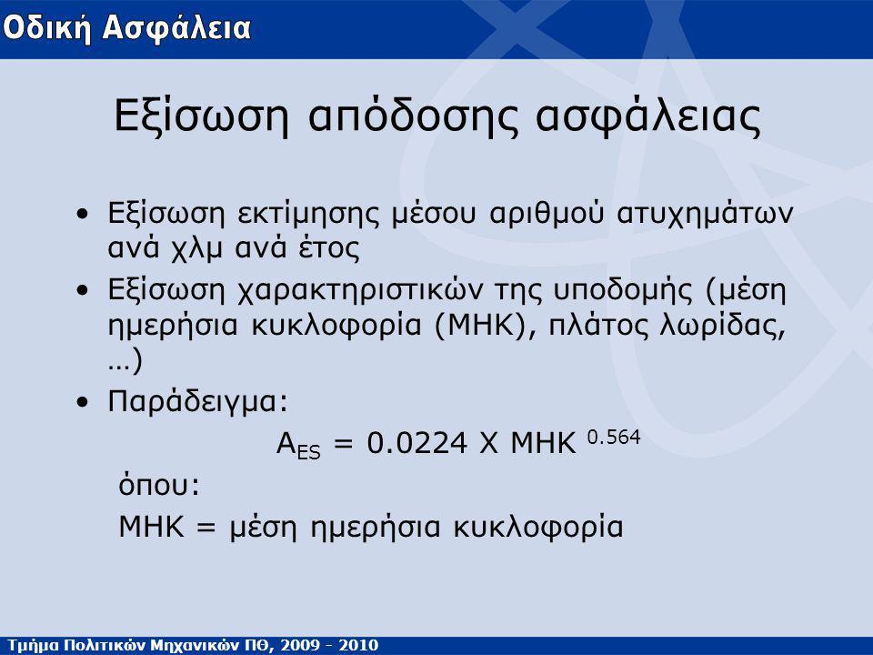Τμήμα Πολιτικών Μηχανικών ΠΘ, 2009 - 2010 Εξίσωση απόδοσης ασφάλειας Εξίσωση εκτίμησης μέσου αριθμού ατυχημάτων ανά χλμ ανά έτος Εξίσωση χαρακτηριστικών της υποδομής (μέση ημερήσια κυκλοφορία (MHK), πλάτος λωρίδας, …) Παράδειγμα: Α ES = 0.0224 X MHK 0.564 όπου: ΜΗΚ = μέση ημερήσια κυκλοφορία