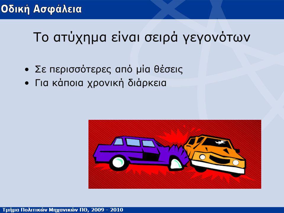 Τμήμα Πολιτικών Μηχανικών ΠΘ, 2009 - 2010 Το ατύχημα είναι σειρά γεγονότων Σε περισσότερες από μία θέσεις Για κάποια χρονική διάρκεια