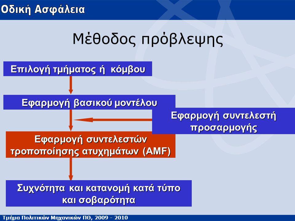 Τμήμα Πολιτικών Μηχανικών ΠΘ, 2009 - 2010 Μέθοδος πρόβλεψης Επιλογή τμήματος ή κόμβου Εφαρμογή βασικού μοντέλου Εφαρμογή συντελεστών τροποποίησης ατυχημάτων (AMF) Εφαρμογή συντελεστή προσαρμογής Συχνότητα και κατανομή κατά τύπο και σοβαρότητα