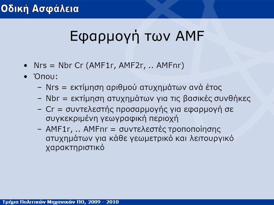 Τμήμα Πολιτικών Μηχανικών ΠΘ, 2009 - 2010 Εφαρμογή των AMF Nrs = Nbr Cr (AMF1r, AMF2r,.. AMFnr) Όπου: –Nrs = εκτίμηση αριθμού ατυχημάτων ανά έτος –Nbr