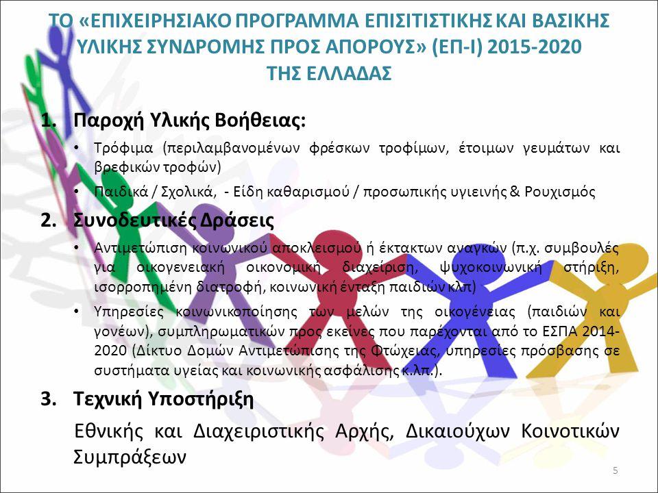 ΤΟ «ΕΠΙΧΕΙΡΗΣΙΑΚΟ ΠΡΟΓΡΑΜΜΑ ΕΠΙΣΙΤΙΣΤΙΚΗΣ ΚΑΙ ΒΑΣΙΚΗΣ ΥΛΙΚΗΣ ΣΥΝΔΡΟΜΗΣ ΠΡΟΣ ΑΠΟΡΟΥΣ» (ΕΠ-Ι) 2015-2020 ΤΗΣ ΕΛΛΑΔΑΣ (συνέχεια) Το Πρόγραμμα συνδυάζεται : με τους πυλώνες της Στρατηγικής του Υπουργείου Κοινωνικής Ασφάλισης και Πρόνοιας, με στόχο την διαμόρφωση ενός ενιαίου πλαισίου κοινωνικών παρεμβάσεων σε τοπικό επίπεδο, στα νοικοκυριά που πράγματι χρήζουν βοήθειας, υλικής και μη, με τις δράσεις του Θεματικού Στόχου 9 των ΠΕΠ στο πλαίσιο του ΕΣΠΑ 2014-2020 Το ΕΠ-Ι αντικαθιστά και το Πρόγραμμα Δωρεάν Διανομής Τροφίμων (ΠΔΔΤ) της ΕΕ που εφαρμόστηκε την Π.Π.