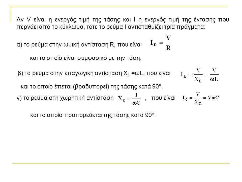 Αν V είναι η ενεργός τιμή της τάσης και Ι η ενεργός τιμή της έντασης που περνάει από το κύκλωμα, τότε το ρεύμα Ι αντισταθμίζει τρία πράγματα: α) το ρε