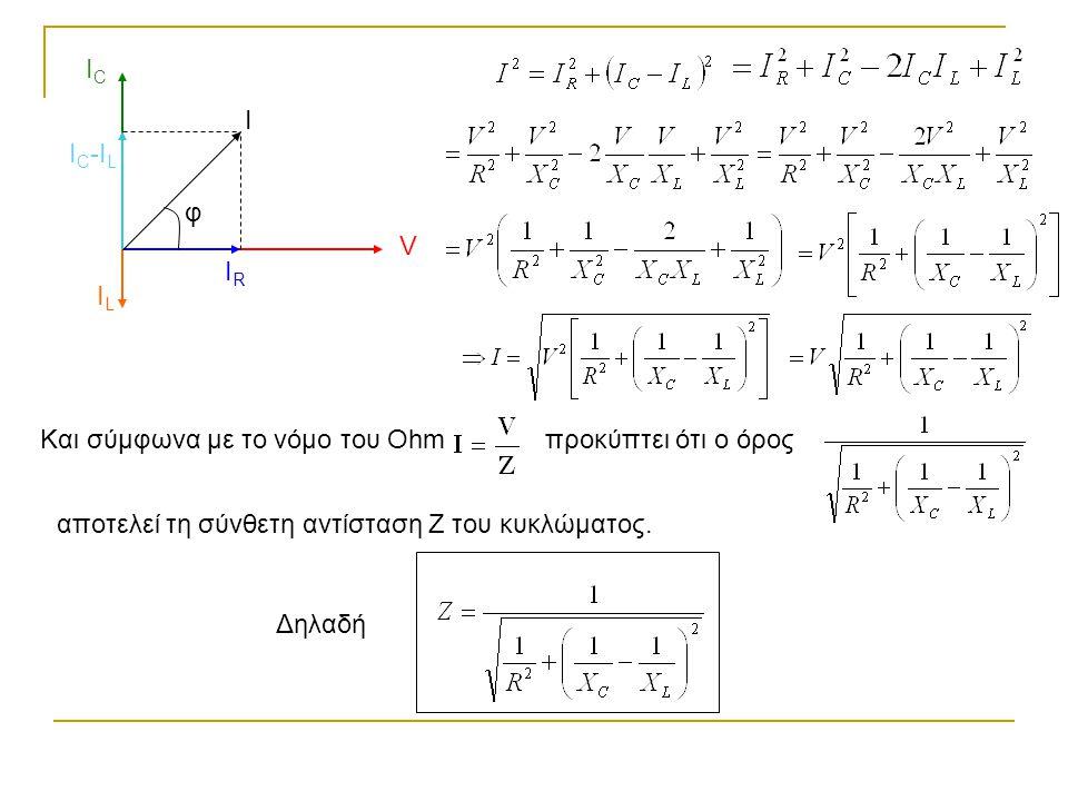 V IRIR ICIC I C -I L ILIL I φ Και σύμφωνα με το νόμο του Οhmπροκύπτει ότι ο όρος αποτελεί τη σύνθετη αντίσταση Ζ του κυκλώματος. Δηλαδή