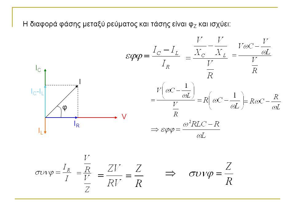 Η διαφορά φάσης μεταξύ ρεύματος και τάσης είναι φ Ζ και ισχύει: V IRIR ICIC I C -I L ILIL I φ