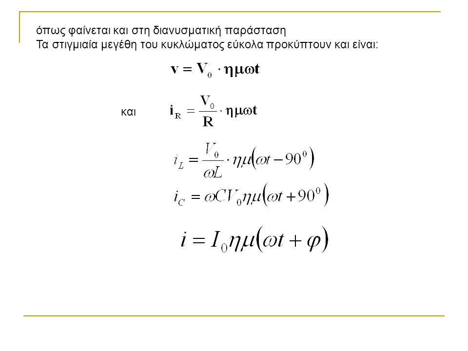 όπως φαίνεται και στη διανυσματική παράσταση Τα στιγμιαία μεγέθη του κυκλώματος εύκολα προκύπτουν και είναι: και