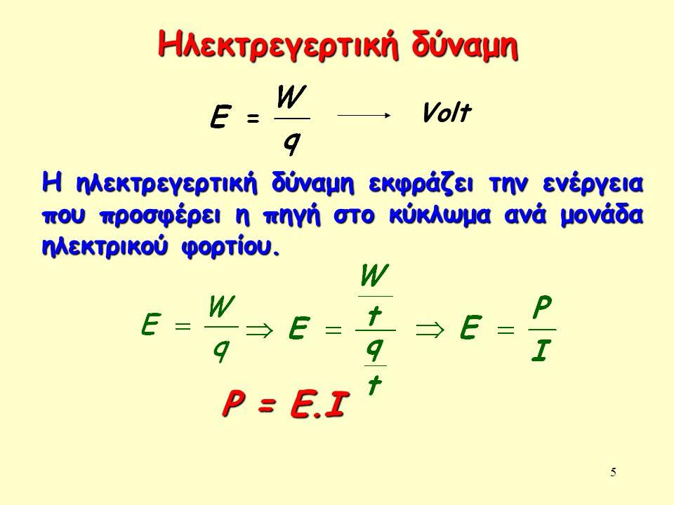 5 Ηλεκτρεγερτική δύναμη Volt Η ηλεκτρεγερτική δύναμη εκφράζει την ενέργεια που προσφέρει η πηγή στο κύκλωμα ανά μονάδα ηλεκτρικού φορτίου. P = E.I