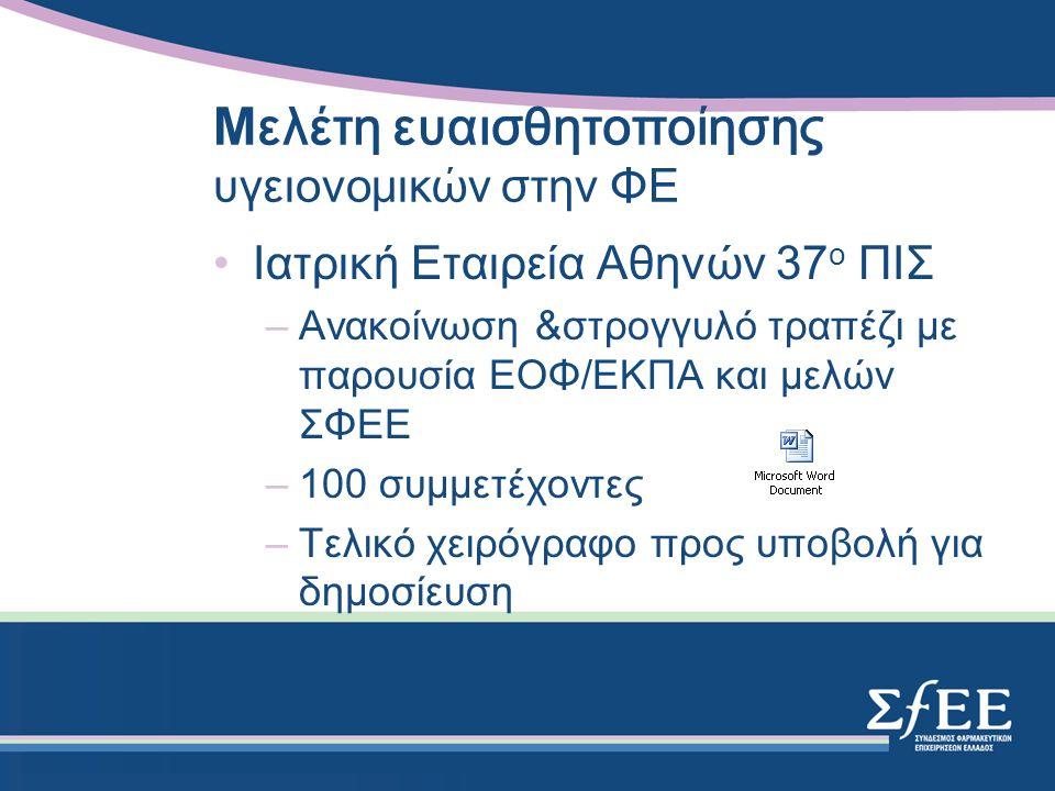 Μ ελέτη ευαισθητοποίησης υγειονομικών στην ΦΕ Ιατρική Εταιρεία Αθηνών 37 ο ΠΙΣ –Ανακοίνωση &στρογγυλό τραπέζι με παρουσία ΕΟΦ/ΕΚΠΑ και μελών ΣΦΕΕ –100 συμμετέχοντες –Τελικό χειρόγραφο προς υποβολή για δημοσίευση