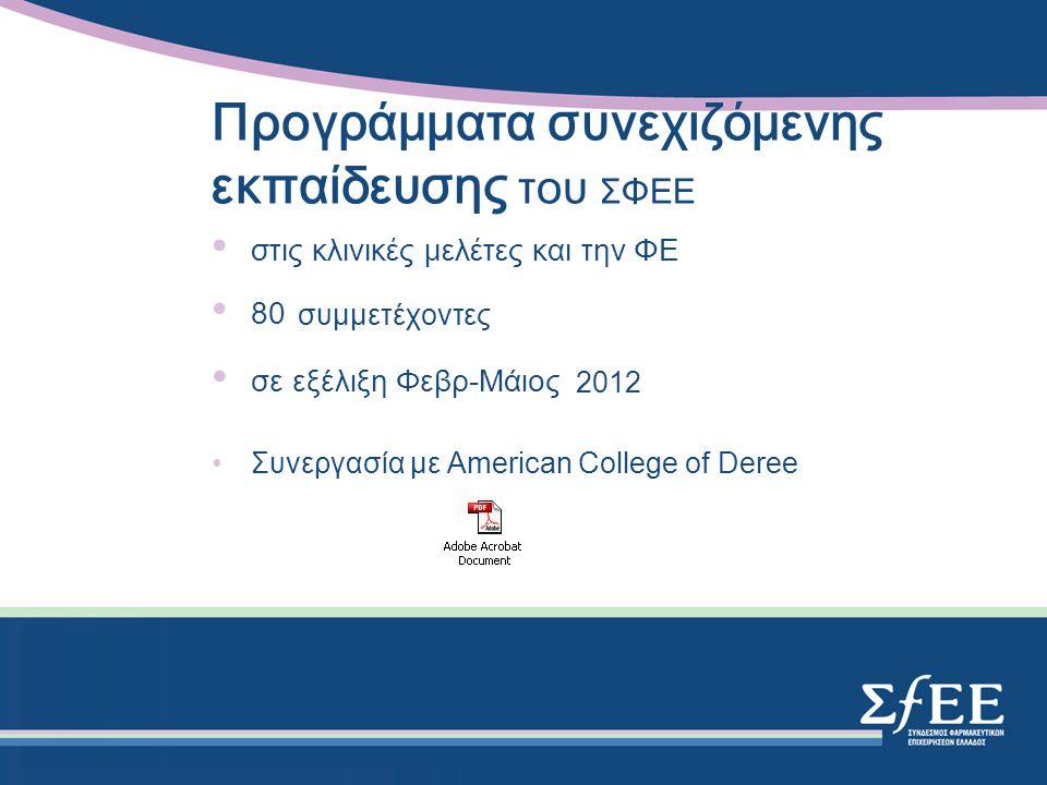 Προγράμματα συνεχιζόμενης εκπαίδευσης του ΣΦΕΕ στις κλινικές μελέτες και την ΦΕ 80 συμμετέχοντες σε εξέλιξη Φεβρ-Μάιος 2012 Συνεργασία με American College of Deree