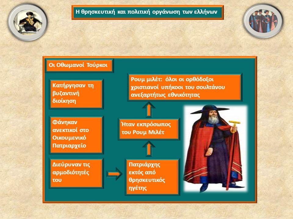 Η θρησκευτική και πολιτική οργάνωση των ελλήνων Κατήργησαν τη βυζαντινή διοίκηση Οι Οθωμανοί Τούρκοι Φάνηκαν ανεκτικοί στο Οικουμενικό Πατριαρχείο Διε