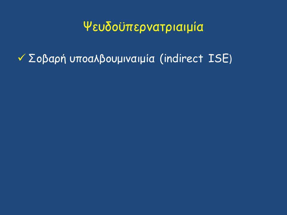 Ψευδοϋπερνατριαιμία Σοβαρή υποαλβουμιναιμία (indirect ISE )